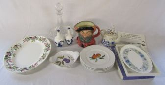 Various ceramics inc large Royal Doulton character jug, Royal Doulton vases, Royal Worcester,