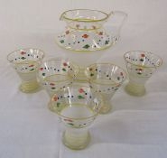 Retro lemonade jug and glasses set (Jug H 19 cm)