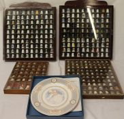 4 cases of decorative thimbles & Royal Doulton ltd ed Royal Birth Celebration plate boxed