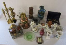 Assorted brassware inc fire companion set, miners lamp, ceramics and scales etc