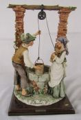 Large Capodimonte 'The wishing well' figurine by G Armani H 33 cm