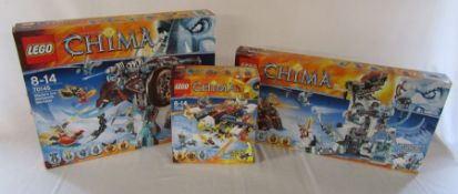 3 unused Lego Chima sets - 70142 Eris' fire eagle flyer, 70145 Maula's ice mammoth stomper & 70147
