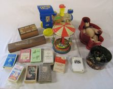 Assorted toys inc teddy bear, marbles, tin plate, playing cards etc