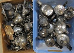 2 boxes of pewter & silver-plated tankards, teapots etc.