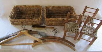 Wicker baskets, miniature / dolls wicker chairs, vintage wooden coat hangers etc