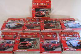 9 Airfix model starter sets - 1:32 Jaguar E-type (3), Aston Martin DBR9 (3) and Mini countryman