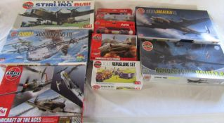 8 Airfix model kits inc Short Stirling BI/III, Short Sunderland III, Avro Lancaster B.I and