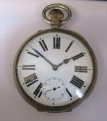 Nickel cased Goliath pocket watch case no 1414520 D 7.5 cm
