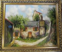 Gilt framed oil on canvas of a rural French bar signed R Callade 85 cm x 71 cm (size including