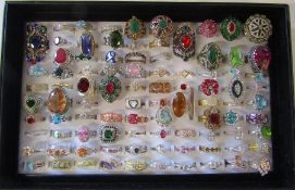 Large jewellery tray containing assorted dress rings mainly silver marked 925 (92)