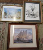 Various large prints etc inc Louth by J M W Turner (sample shown)