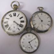 Waltham nickel cased pocket watch with train design to reverse, seven jewels, silver plated
