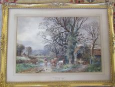 Gilt framed watercolour of cattle 'Nr Sidmouth Devon' by H C Fox R.B.A (1855-1925) signed lower