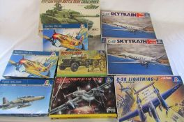 9 Italerie model kits inc Spitfire Mk vb, Hawk Mk 100, British main battle tank Challenger, C-47 Sky