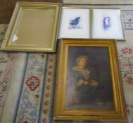 Pair of framed bird prints signed in pencil by Ben Maile & Angus Ogilvy, glazed gilt frame & large