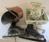 American Bird ivory ware jug and bowl (af), coal scuttle and pair of Polar ice skates