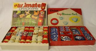 Toy china blue and white tea set in original box & Animates crackers - boxed and complete containing
