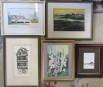 Selection of assorted framed watercolours inc The Old Hall Cottage Garboldisham by Marjorie Wrighton