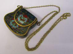 Small cloisonne enamel purse 4 cm x 4.5 cm