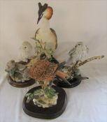 4 large Country Artists bird figures - Snowy owl with young H 20 cm, Gyr Falcon with fern H 23 cm,