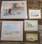 5 framed watercolours of yachts and mooring scenes etc inc Jennifer Smith, Arthur Watson and R G