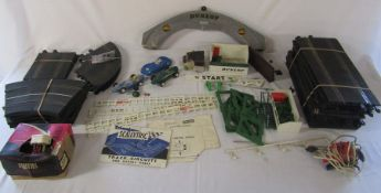 Quantity of vintage Triang Scalextric inc Dunlop Tyres arch, bridge, track & cars etc