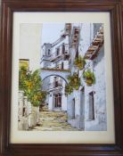 Framed mixed media painting of a street scene by Bernard Dulous 52 cm x 65 cm (size including