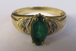 10ct gold ring with marquise emerald stone and diamond chips (marked 10K) size L/M weight 2.6 g