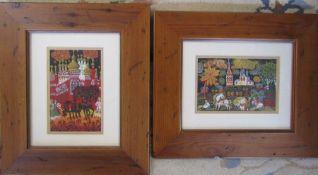 2 framed mixed media paintings by Russian artist Elena Khmeleva entitled 'Russian Village' 32cm x 37
