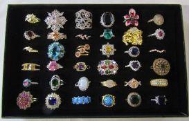 Jewellery tray containing assorted dress rings mainly silver marked 925 (36)