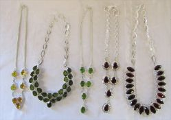 Selection of silver and white metal necklaces with coloured stones (3 marked 925)