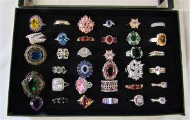 Jewellery tray containing assorted dress rings mainly silver marked 925 (35)