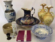 Edwardian jug & bowl, large crackle glaze vase, pair of campana vases, glassware (not in photo) flan