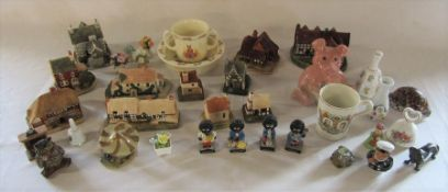 Various ceramics inc Wade Natwest pig, early Lilliput Lane cottages, Robertson's jam band, Royal