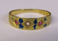 18ct gold Edwardian gypsy ring Sheffield 1904, central stone missing and blue enamel mostly worn