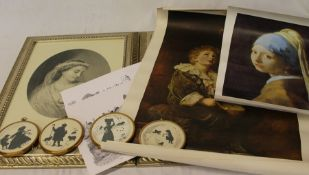 Pr of gilt framed prints, 4 small silhouette type prints in circular brass frames & selection of