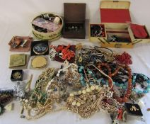 Quantity of costume jewellery, Hemes ladies watch, compacts and sewing kit