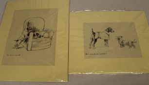"""2 mounted prints after K F Barker depicting terriers entitled """"Where did you get that coat, Mister"""""""