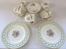 Royal Crown Derby 'Derby Posies' part tea service & 2 Wedgwood plates (one marked Fairford USA)