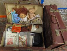 2 vintage suitcases inc 'Expand-it' containing vintage toys inc Viewfinder, Cabbage Patch dolls,