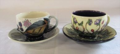 2 Moorcroft cup and saucer sets 'Bramble' and 'Ashwood Hepatica' patterns