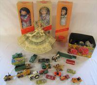 Various playworn cars inc Corgi and boxed porcelain dolls etc