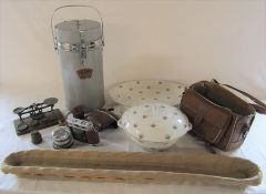Thermos picnic flask, postal scales, camera, Limoges tureen and meat plate and baguette basket