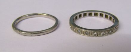 Platinum and diamond full eternity ring total 0.25 ct size N weight 1.9 g & platinum wedding band
