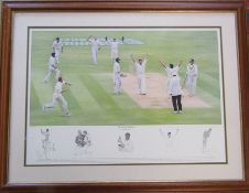 Large framed limited edition cricket print 'The Vital Wicket' by Keith Fearon 437/495 signed in