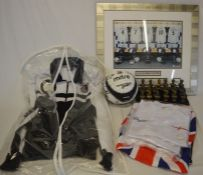 Grimsby Town FC jacket & signed football, framed England dressing room picture, 3 England T shirts &