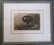 Framed watercolour of a still life with goblet and grapes by Russian artist Georgi Gregoriev (b.