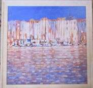 Oil on canvas 'Riviera Reflections' by Ken Devine 69.5 cm x 69.5 cm (size including frame)