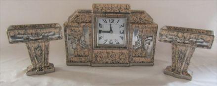 French Art Deco ceramic 8 day clock garniture (clock L 32 cm, H 22 cm)