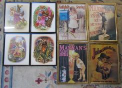 4 framed advertising prints & 4 framed children's animal prints